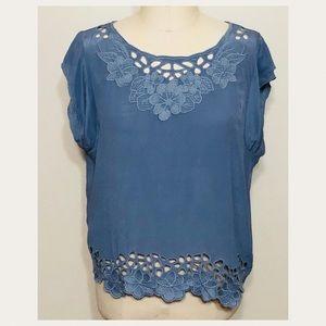 Greylin//💯% silk slate blue blouse